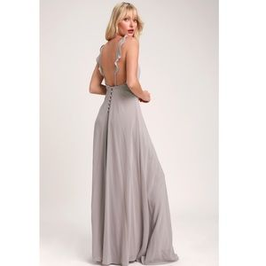 Lulu's Meteoric Rise Light Grey Maxi Dress